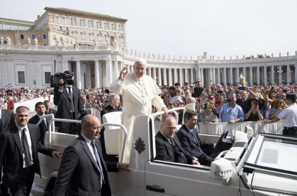 Pope Francis Waving to a crowd